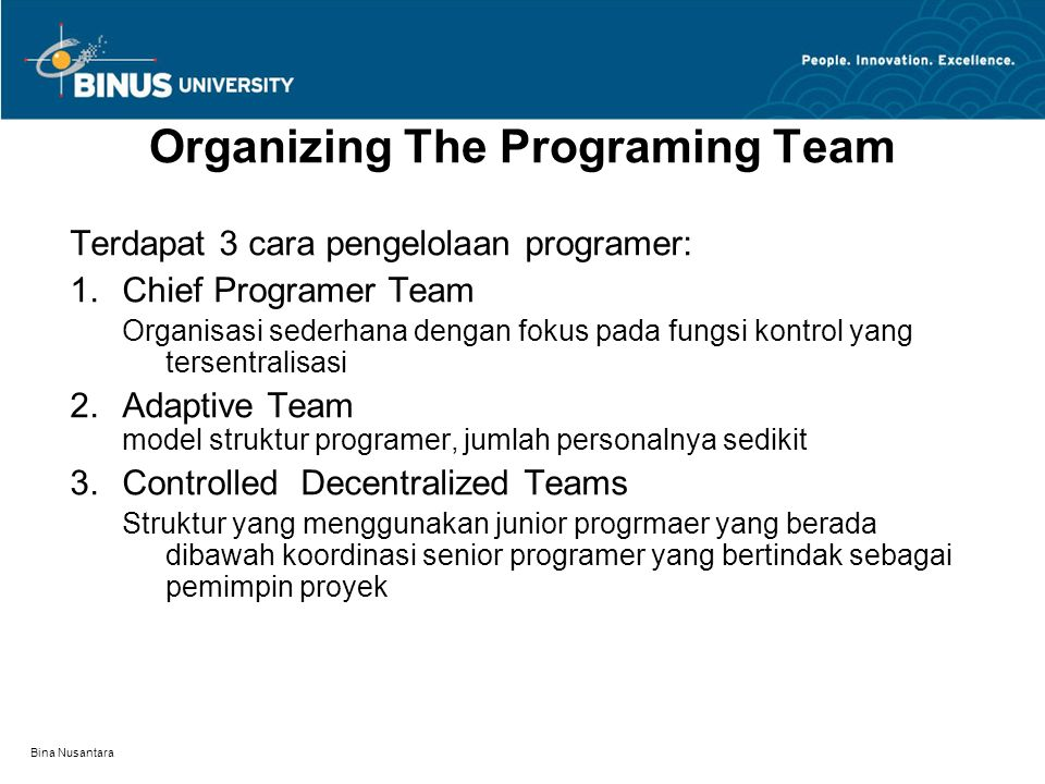 Organizing The Programing Team