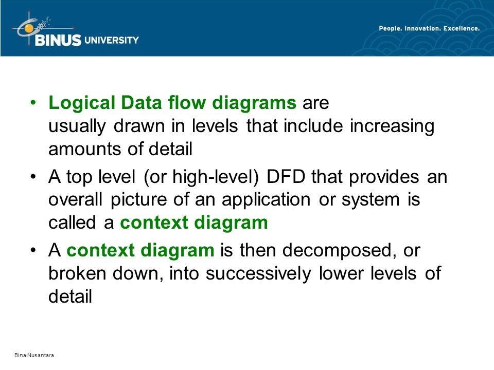 Logical Data flow diagrams are usually drawn in levels that include increasing amounts of detail
