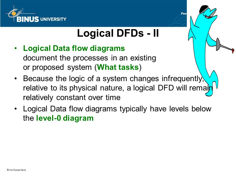 Logical DFDs - II Logical Data flow diagrams document the processes in an existing or proposed system (What tasks)