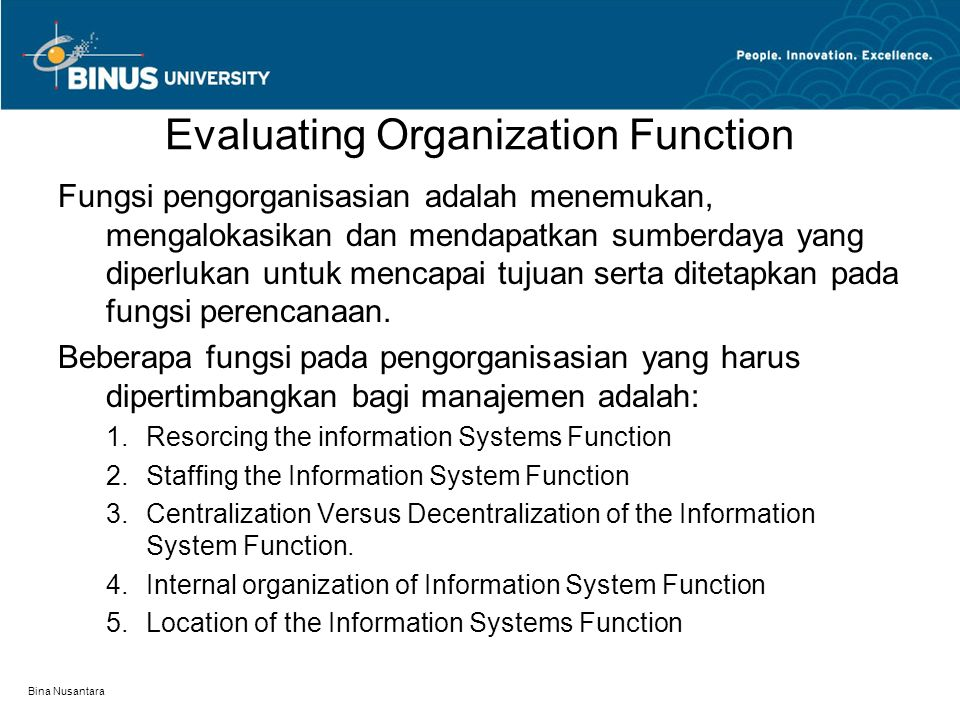 Evaluating Organization Function