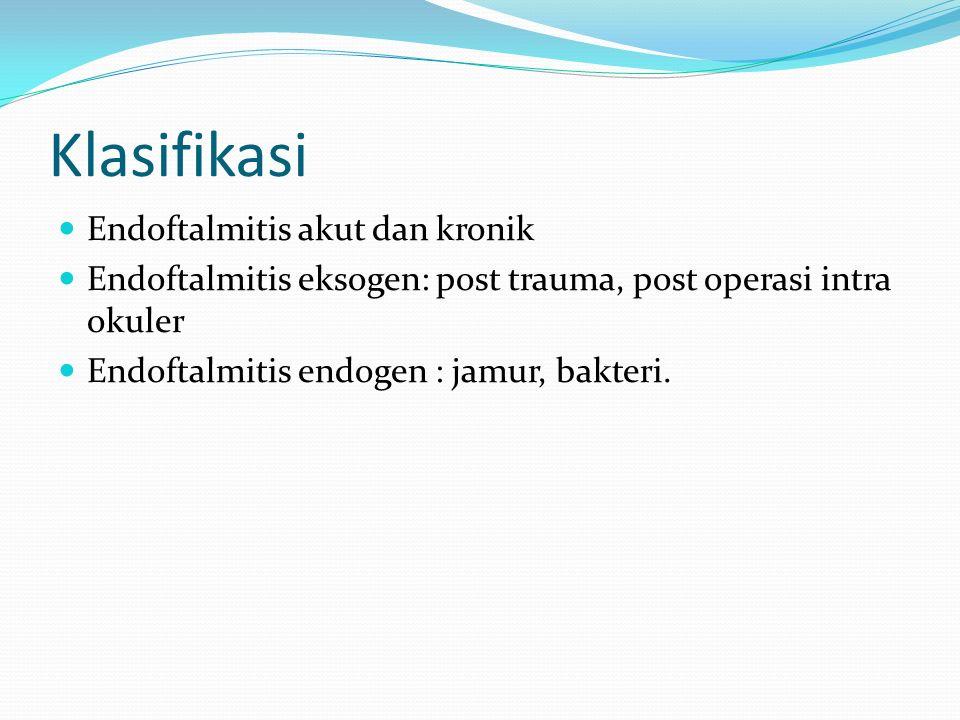 Klasifikasi Endoftalmitis akut dan kronik