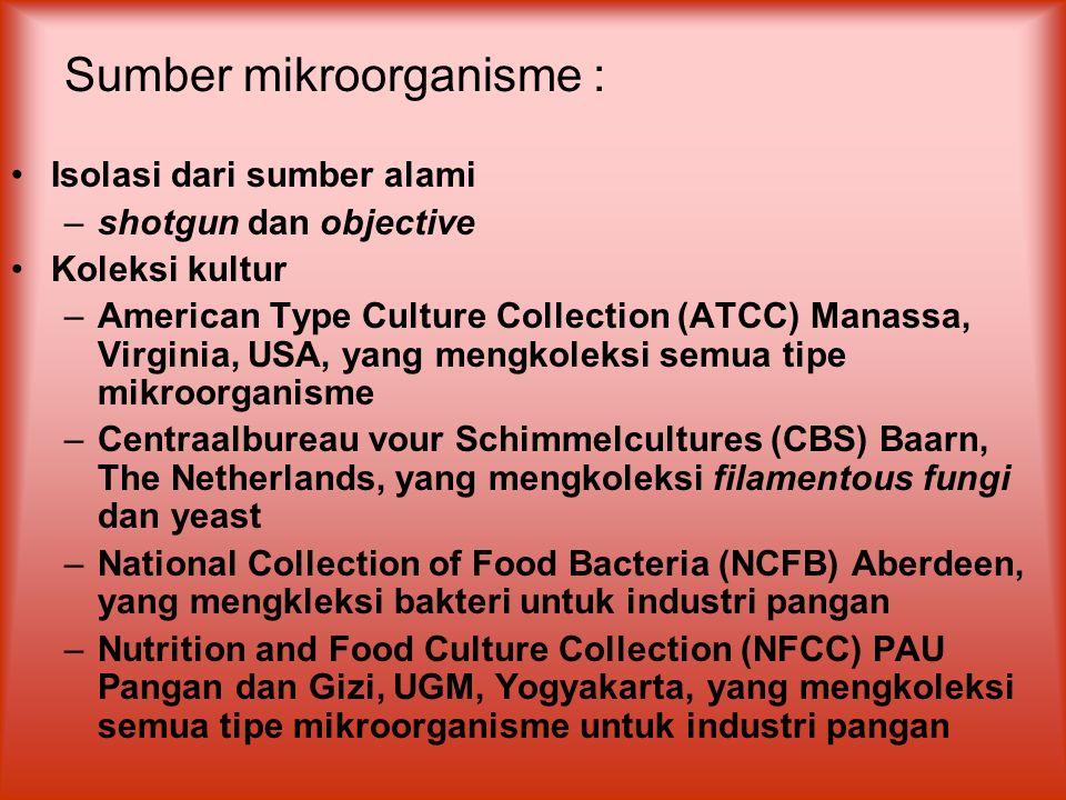Sumber mikroorganisme :