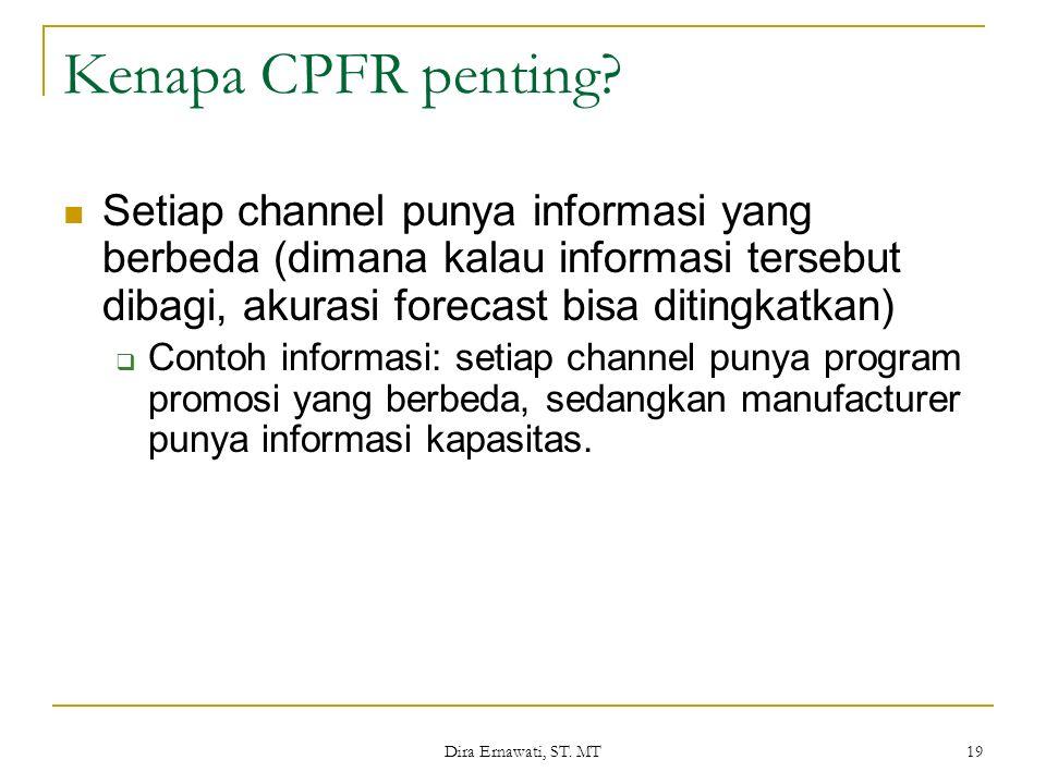 Kenapa CPFR penting Setiap channel punya informasi yang berbeda (dimana kalau informasi tersebut dibagi, akurasi forecast bisa ditingkatkan)