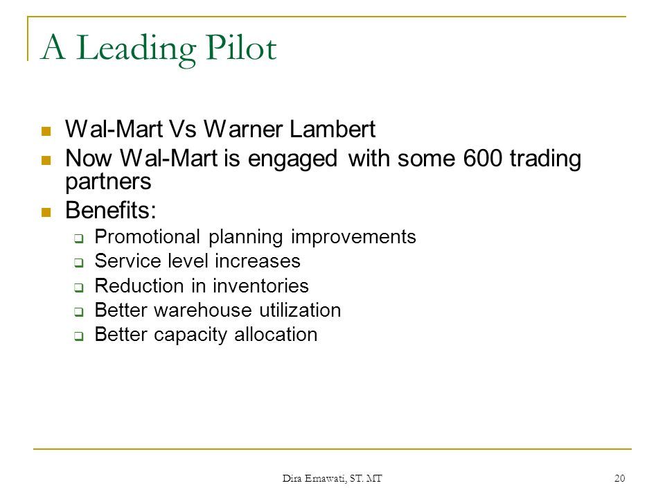 A Leading Pilot Wal-Mart Vs Warner Lambert
