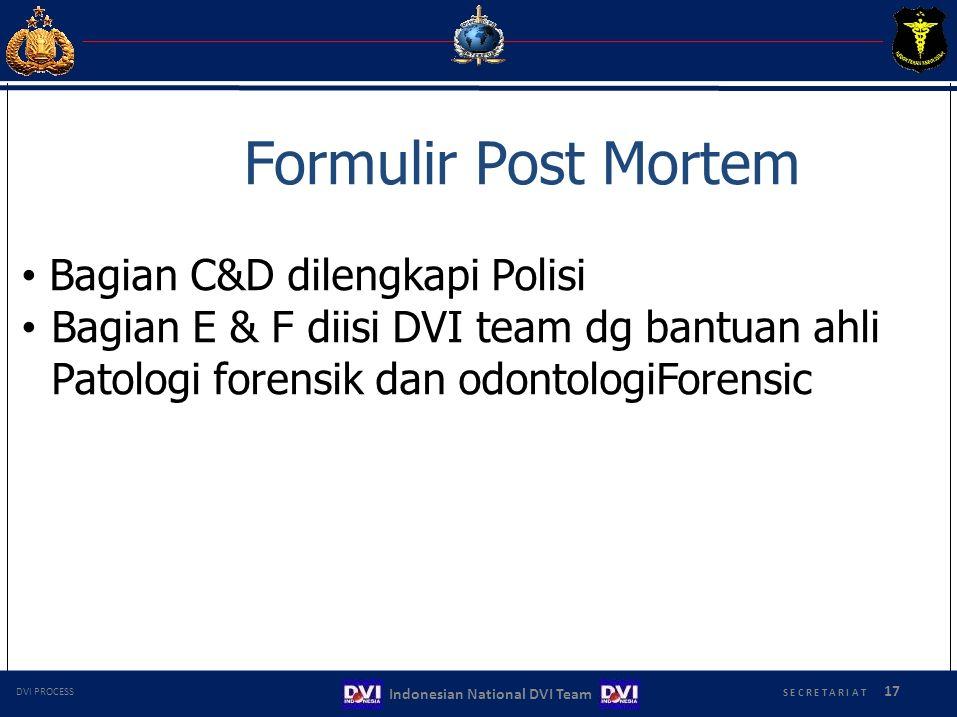 Formulir Post Mortem Bagian C&D dilengkapi Polisi