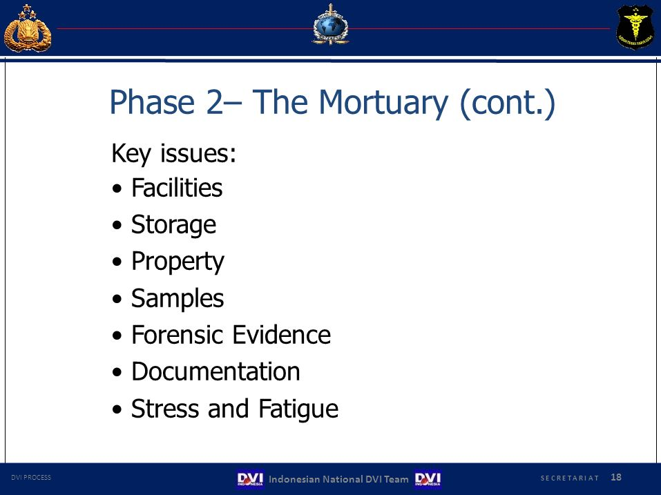Phase 2– The Mortuary (cont.) Key issues: