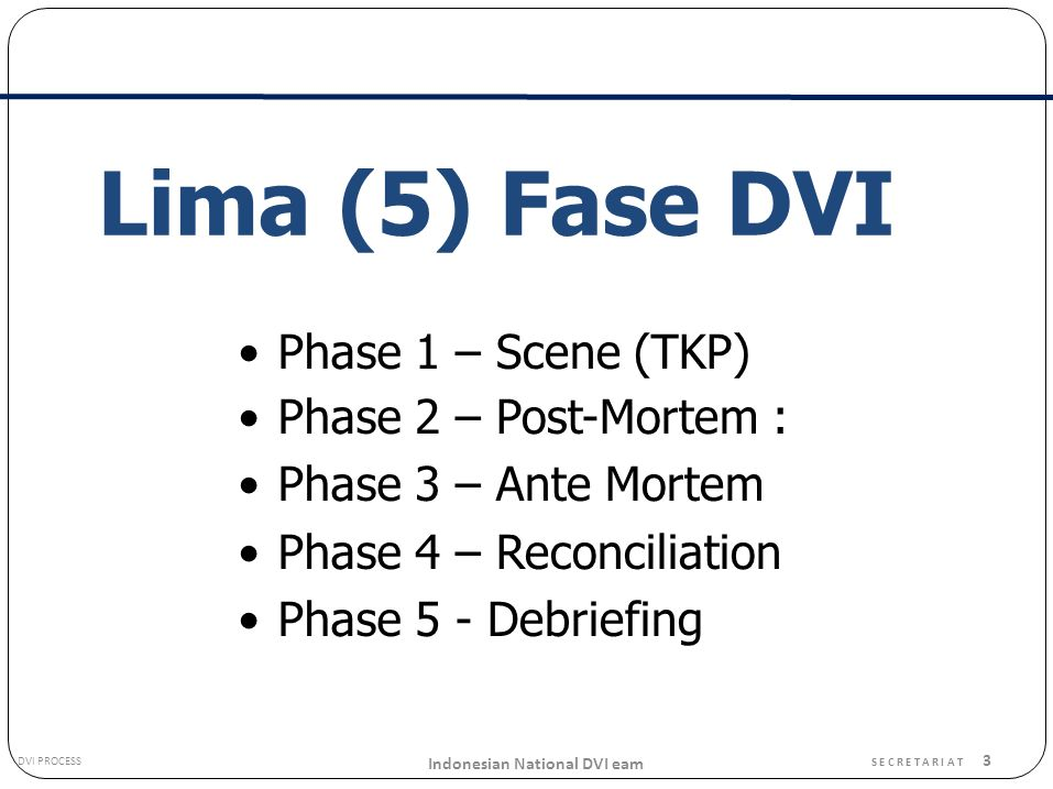 Lima (5) Fase DVI • Phase 1 2 3 4 5 – Scene (TKP) – Post-Mortem :