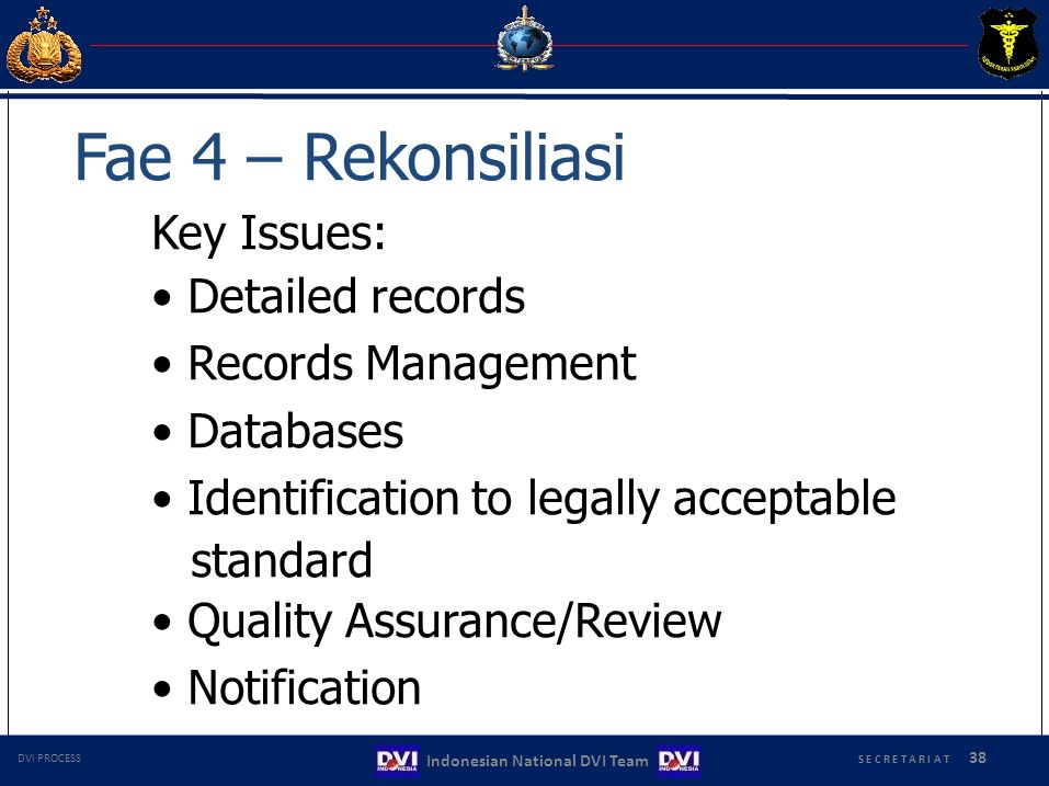 Fae 4 – Rekonsiliasi Key Issues: • Detailed records