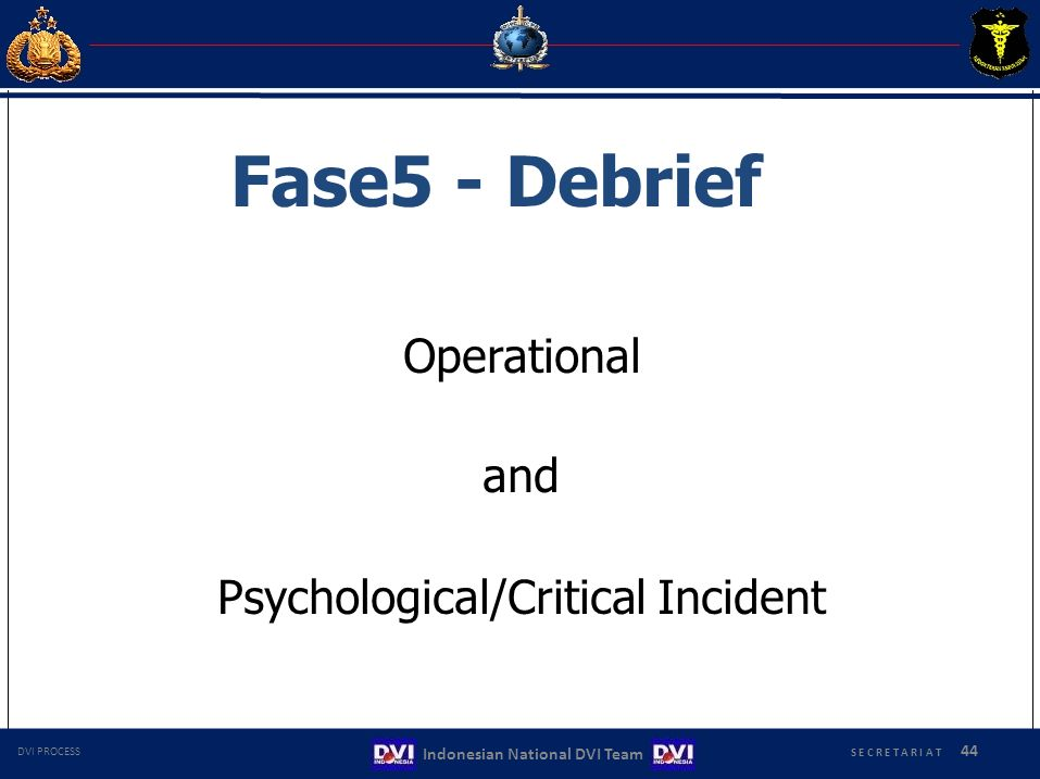 Operational and Psychological/Critical Incident Fase5 - Debrief 44