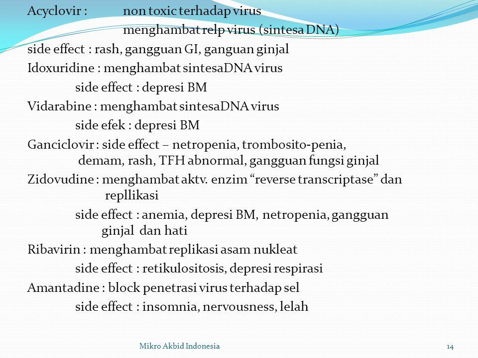 Acyclovir : non toxic terhadap virus menghambat relp virus (sintesa DNA) side effect : rash, gangguan GI, ganguan ginjal Idoxuridine : menghambat sintesaDNA virus side effect : depresi BM Vidarabine : menghambat sintesaDNA virus side efek : depresi BM Ganciclovir : side effect – netropenia, trombosito-penia, demam, rash, TFH abnormal, gangguan fungsi ginjal Zidovudine : menghambat aktv. enzim reverse transcriptase dan repllikasi side effect : anemia, depresi BM, netropenia, gangguan ginjal dan hati Ribavirin : menghambat replikasi asam nukleat side effect : retikulositosis, depresi respirasi Amantadine : block penetrasi virus terhadap sel side effect : insomnia, nervousness, lelah