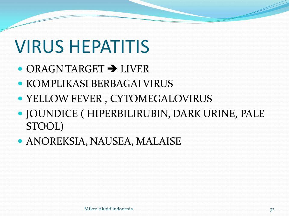 VIRUS HEPATITIS ORAGN TARGET  LIVER KOMPLIKASI BERBAGAI VIRUS