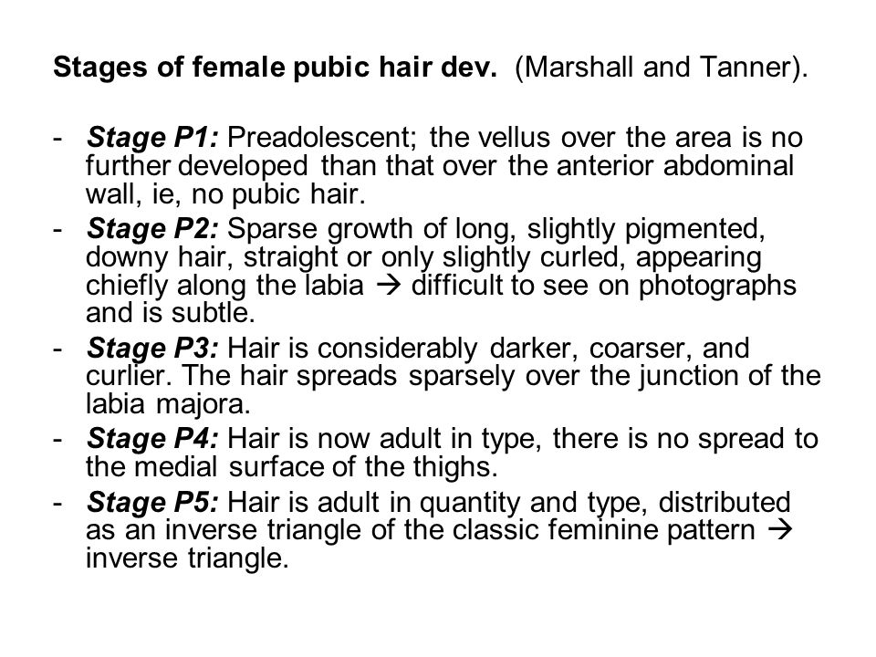 Stages of female pubic hair dev. (Marshall and Tanner).