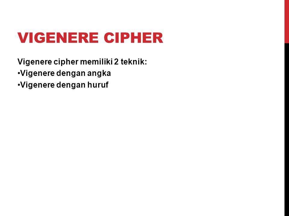 Vigenere Cipher Vigenere cipher memiliki 2 teknik: