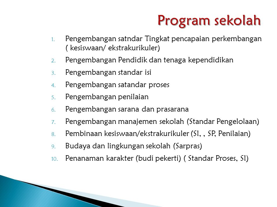 Program sekolah Pengembangan satndar Tingkat pencapaian perkembangan ( kesiswaan/ ekstrakurikuler)