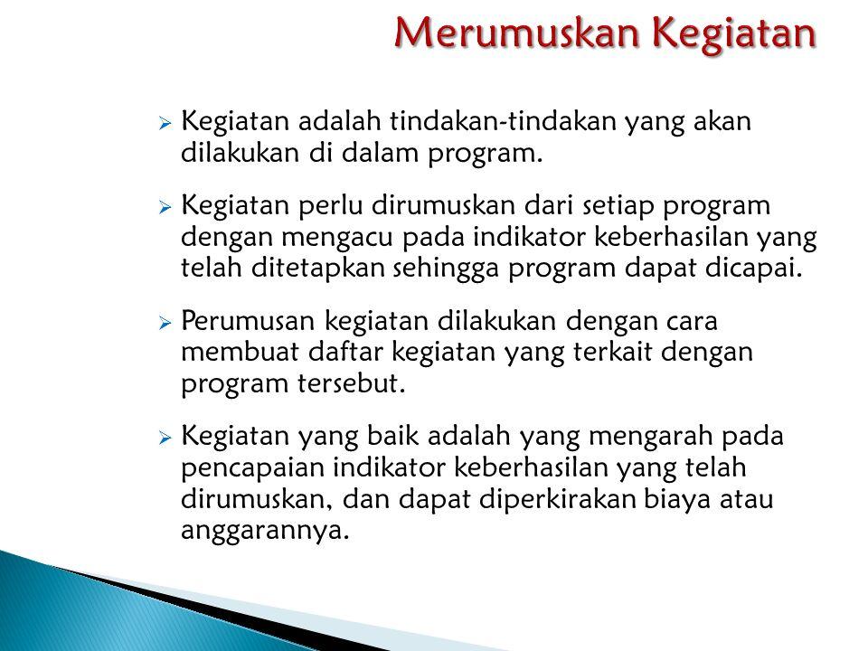 Merumuskan Kegiatan Kegiatan adalah tindakan-tindakan yang akan dilakukan di dalam program.