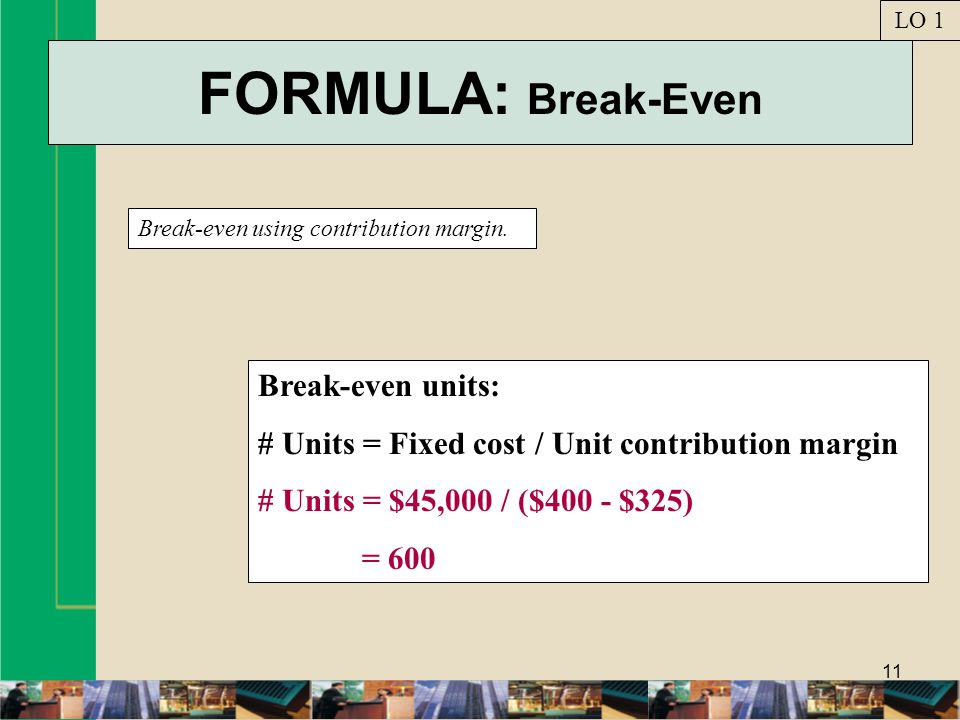 FORMULA: Break-Even Break-even units: