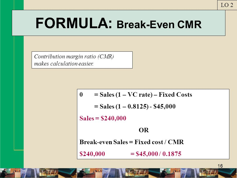 FORMULA: Break-Even CMR