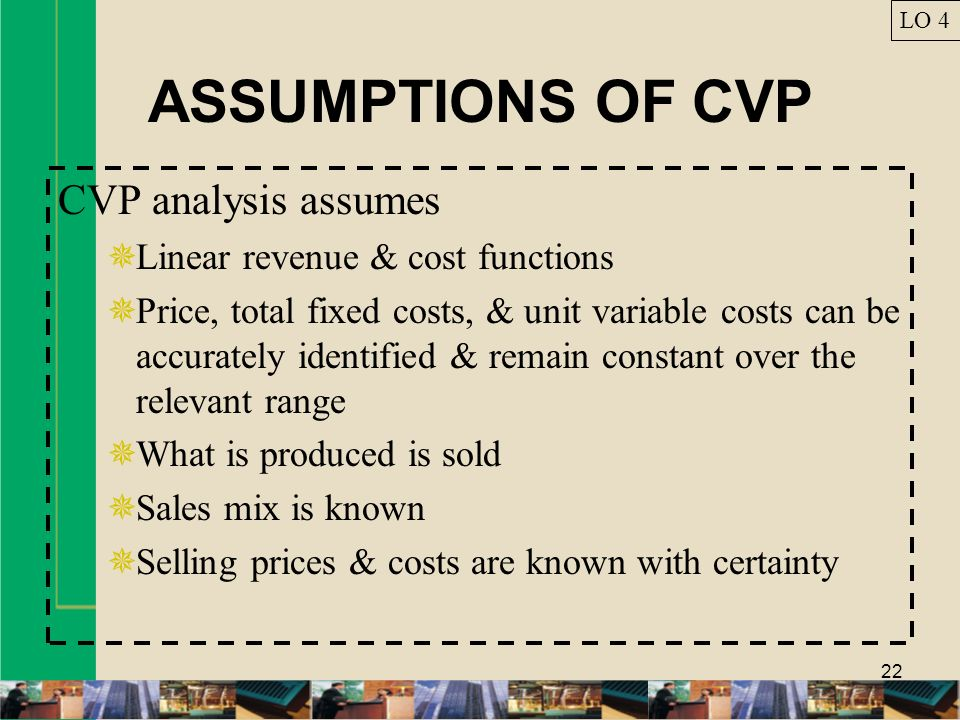 ASSUMPTIONS OF CVP CVP analysis assumes
