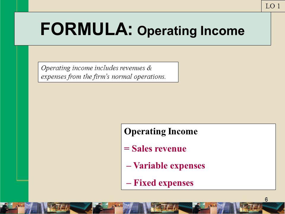FORMULA: Operating Income