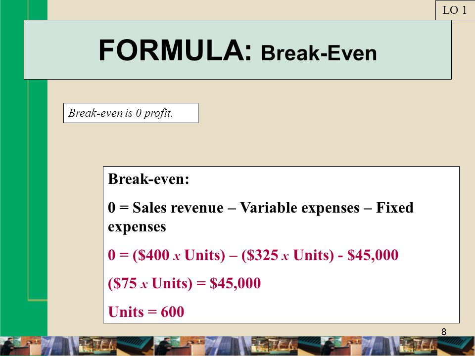FORMULA: Break-Even Break-even: