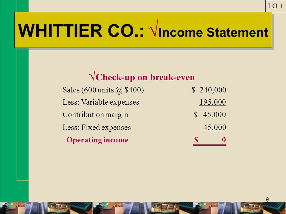 WHITTIER CO.: √Income Statement