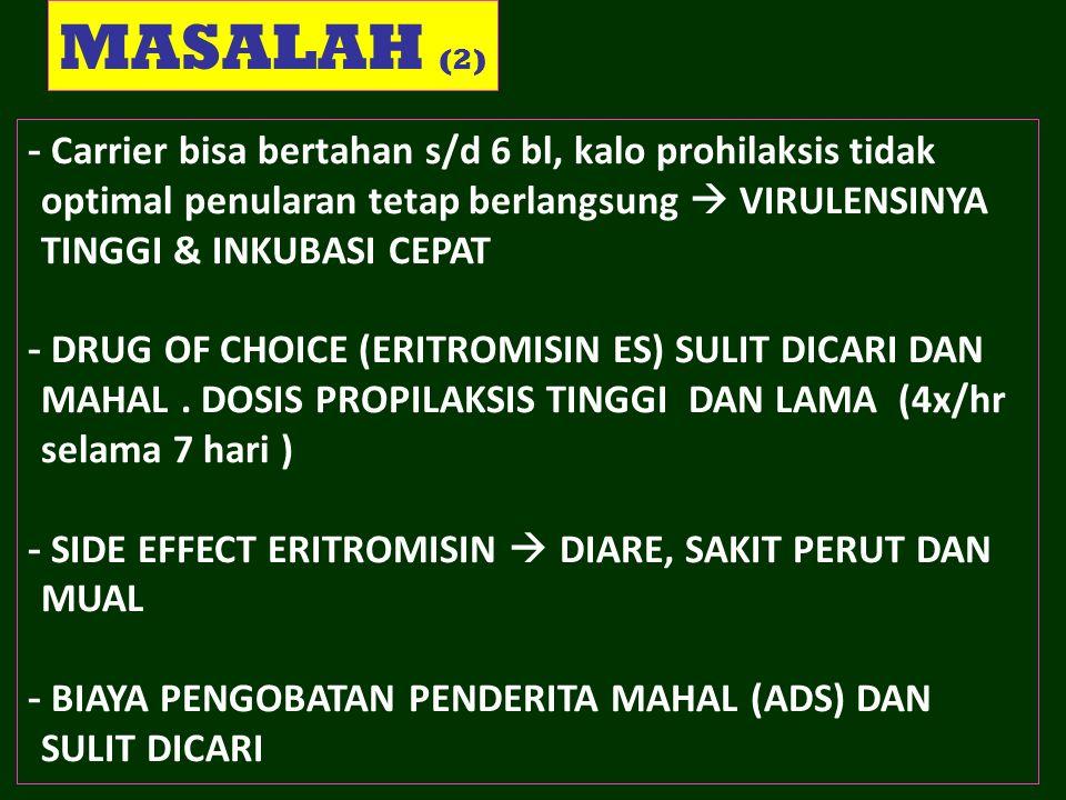 MASALAH (2) Carrier bisa bertahan s/d 6 bl, kalo prohilaksis tidak optimal penularan tetap berlangsung  VIRULENSINYA TINGGI & INKUBASI CEPAT.