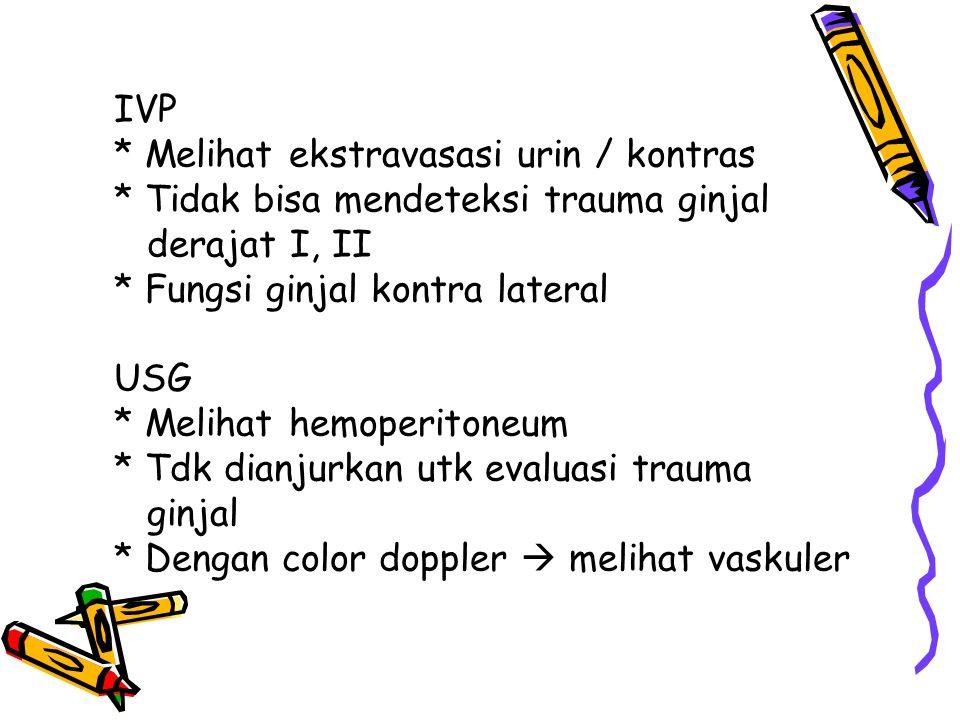 IVP. Melihat ekstravasasi urin / kontras