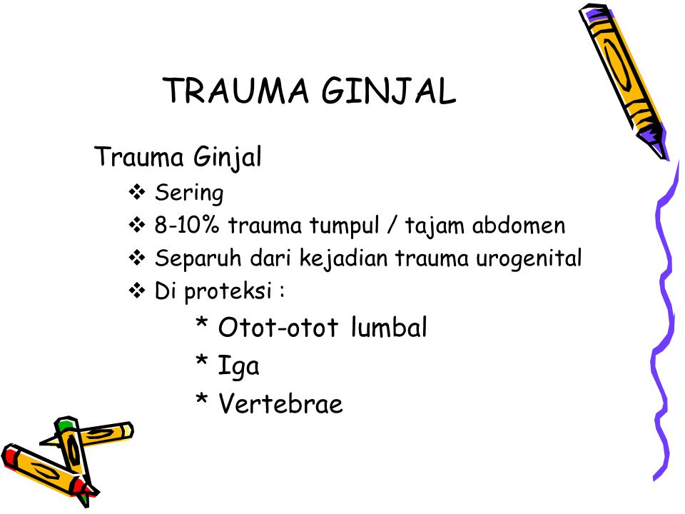 TRAUMA GINJAL Trauma Ginjal * Otot-otot lumbal * Iga * Vertebrae