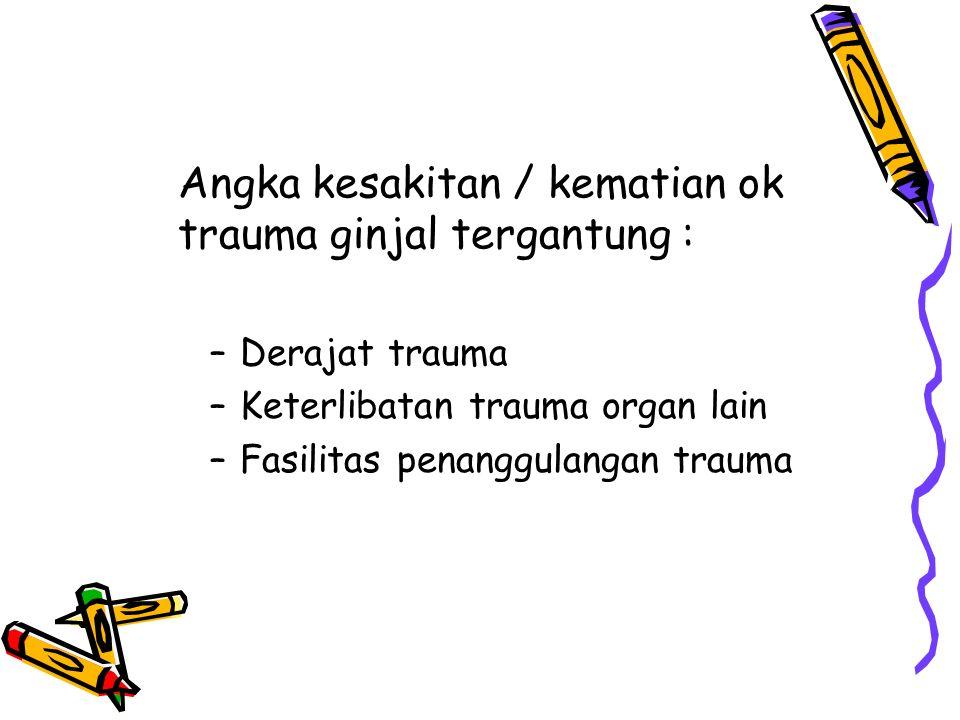 Angka kesakitan / kematian ok trauma ginjal tergantung :