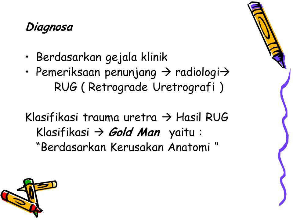 Diagnosa Berdasarkan gejala klinik. Pemeriksaan penunjang  radiologi RUG ( Retrograde Uretrografi )