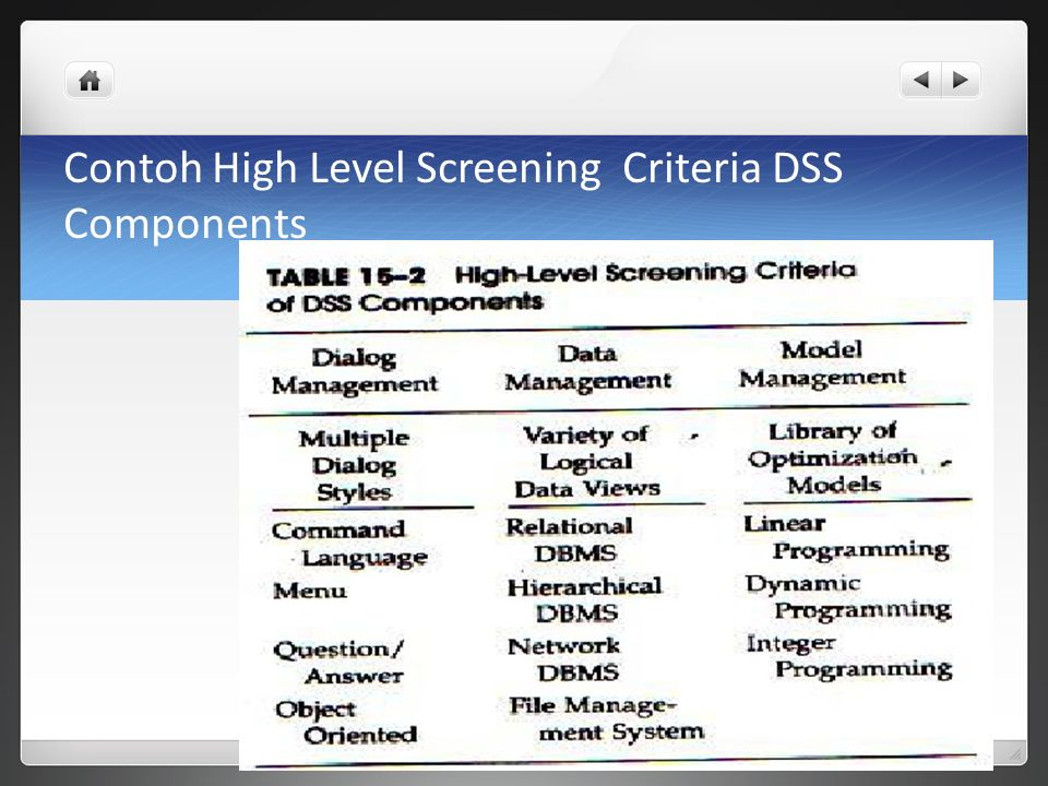 Contoh High Level Screening Criteria DSS Components