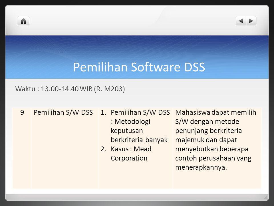 Pemilihan Software DSS