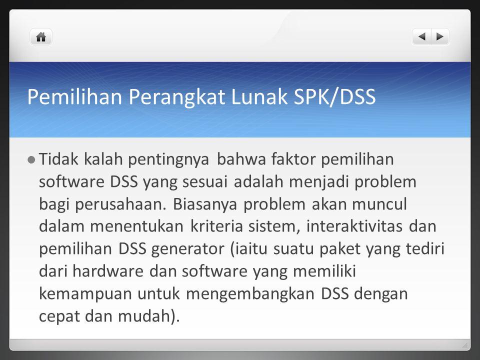 Pemilihan Perangkat Lunak SPK/DSS