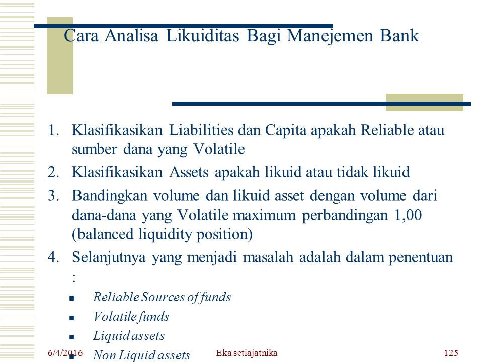 Cara Analisa Likuiditas Bagi Manejemen Bank