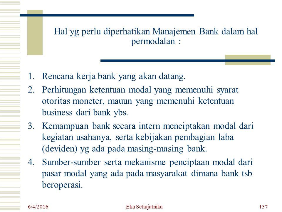 Hal yg perlu diperhatikan Manajemen Bank dalam hal permodalan :