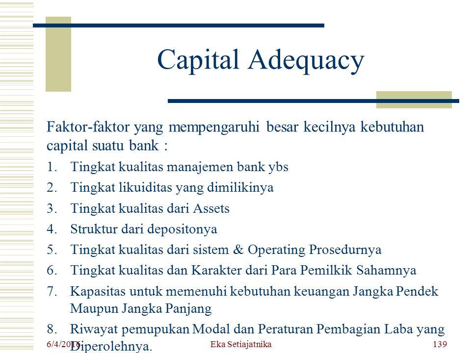 Capital Adequacy Faktor-faktor yang mempengaruhi besar kecilnya kebutuhan capital suatu bank : Tingkat kualitas manajemen bank ybs.