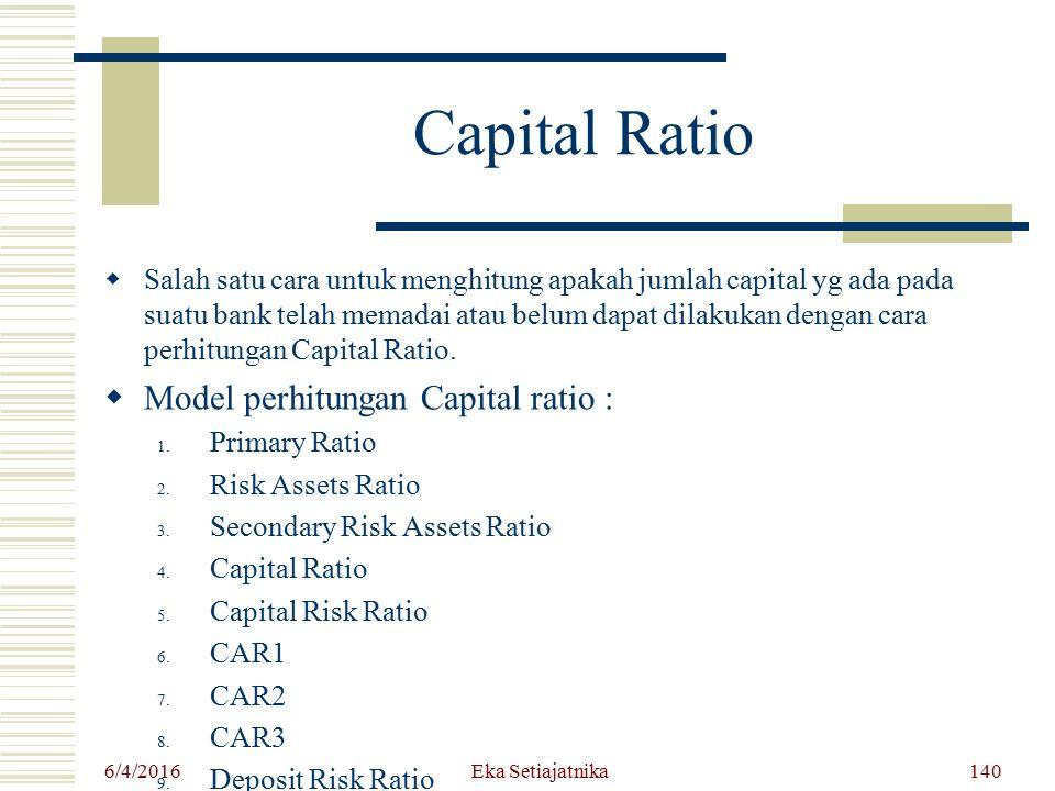 Capital Ratio Model perhitungan Capital ratio :