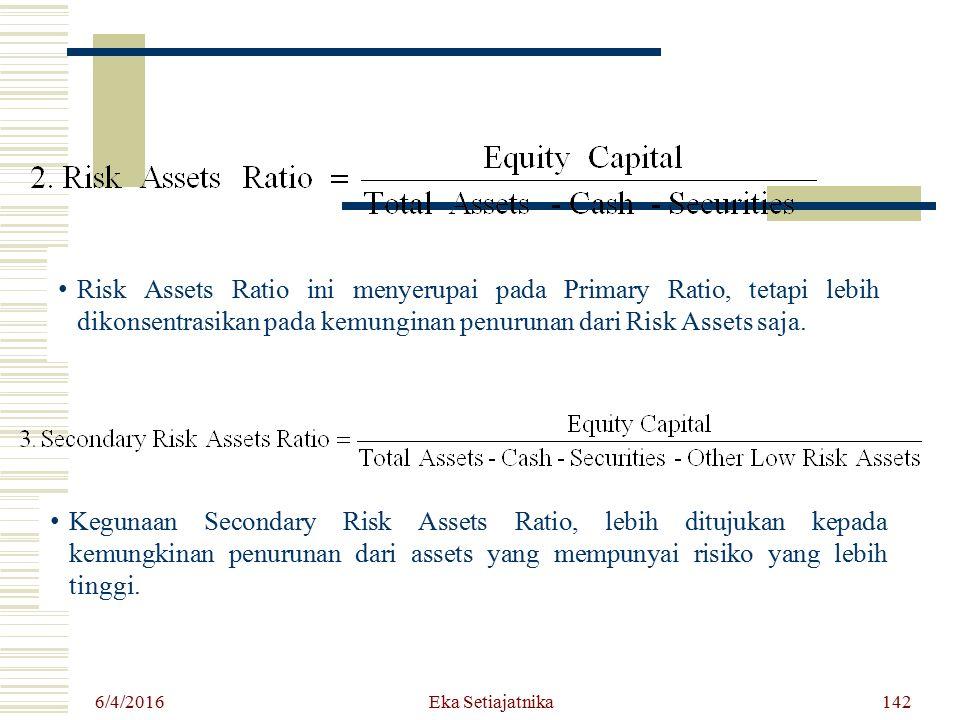 Risk Assets Ratio ini menyerupai pada Primary Ratio, tetapi lebih dikonsentrasikan pada kemunginan penurunan dari Risk Assets saja.