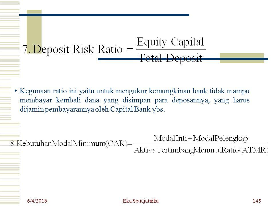 Kegunaan ratio ini yaitu untuk mengukur kemungkinan bank tidak mampu membayar kembali dana yang disimpan para deposannya, yang harus dijamin pembayarannya oleh Capital Bank ybs.