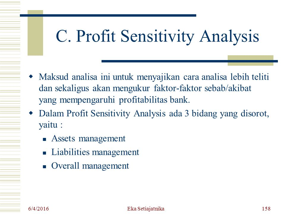 C. Profit Sensitivity Analysis