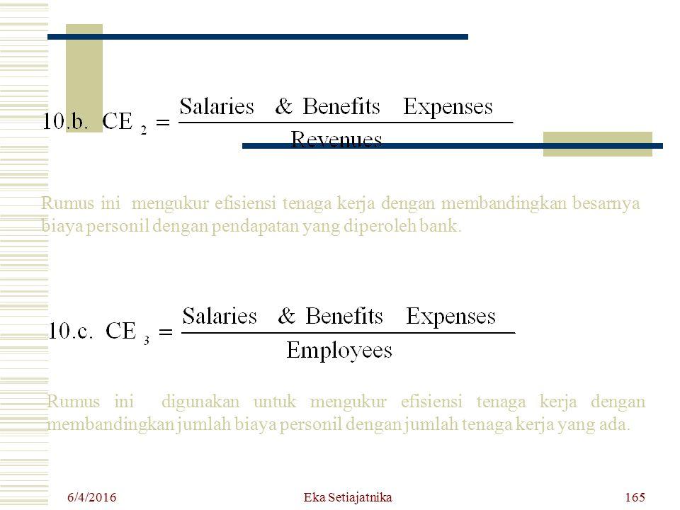 Rumus ini mengukur efisiensi tenaga kerja dengan membandingkan besarnya biaya personil dengan pendapatan yang diperoleh bank.