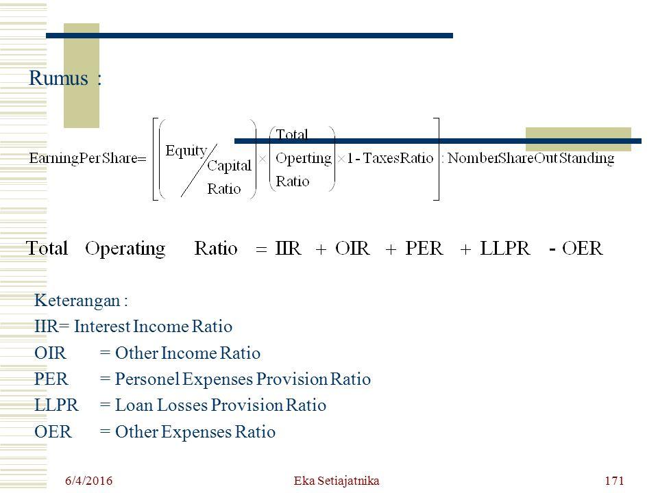 Rumus : Keterangan : IIR = Interest Income Ratio