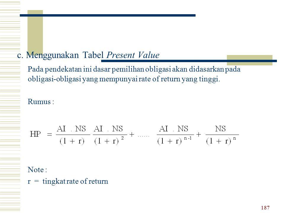 c. Menggunakan Tabel Present Value