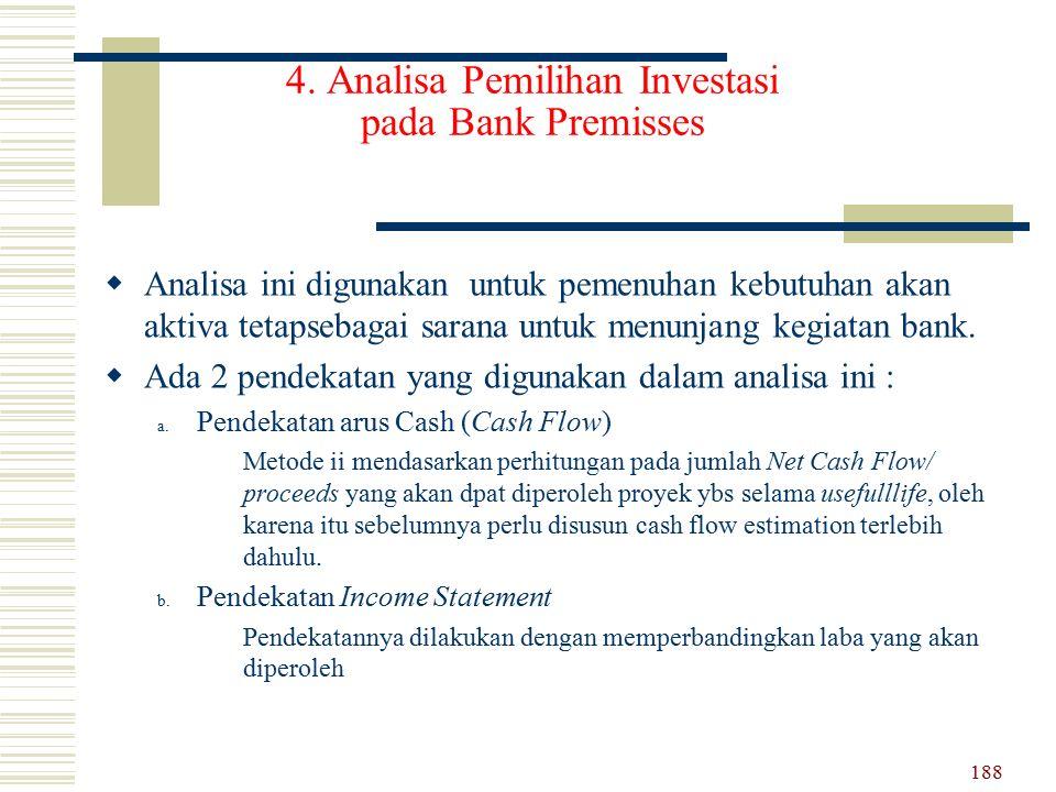 4. Analisa Pemilihan Investasi pada Bank Premisses