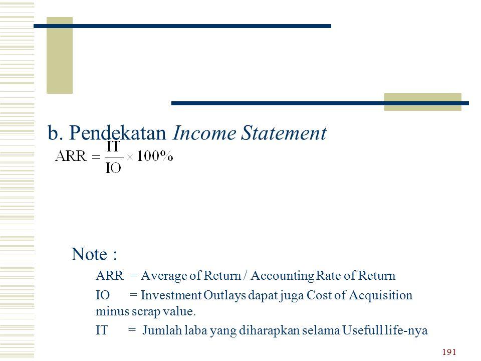 b. Pendekatan Income Statement