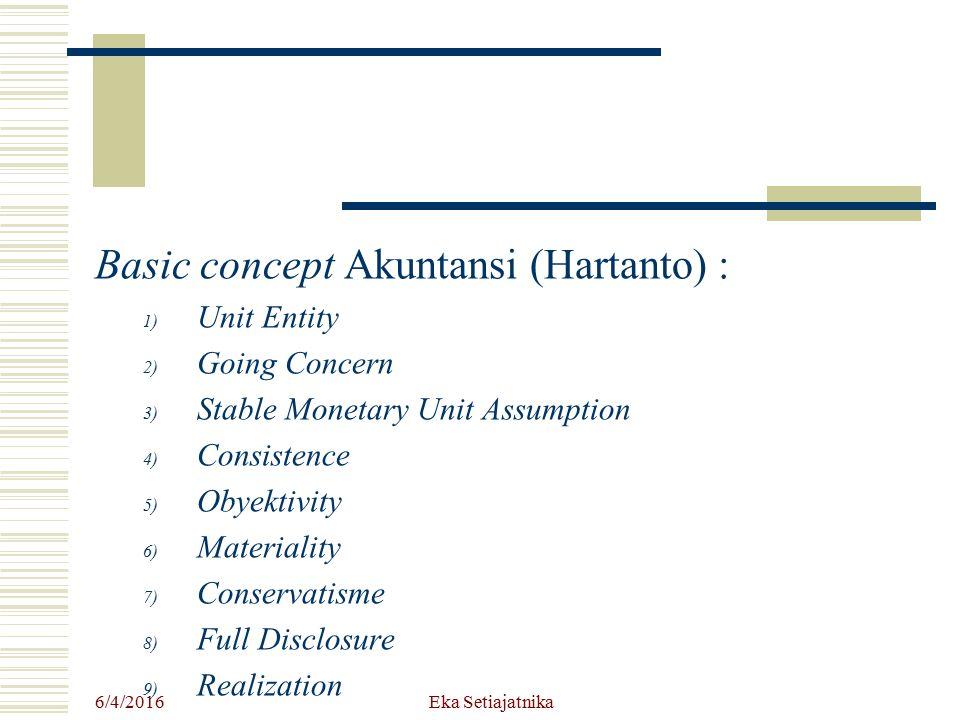 Basic concept Akuntansi (Hartanto) :