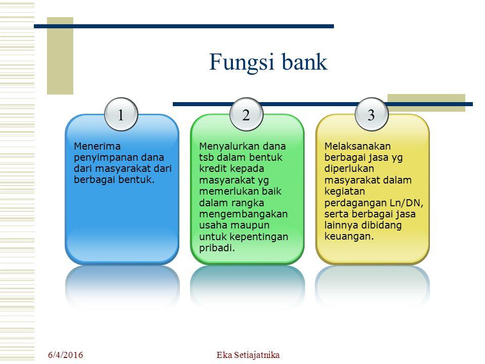 Fungsi bank 1. Menerima penyimpanan dana dari masyarakat dari berbagai bentuk. 2.