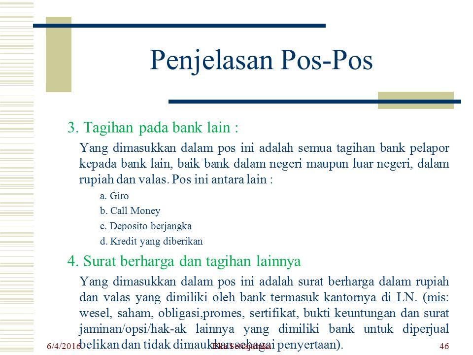 Penjelasan Pos-Pos 3. Tagihan pada bank lain :