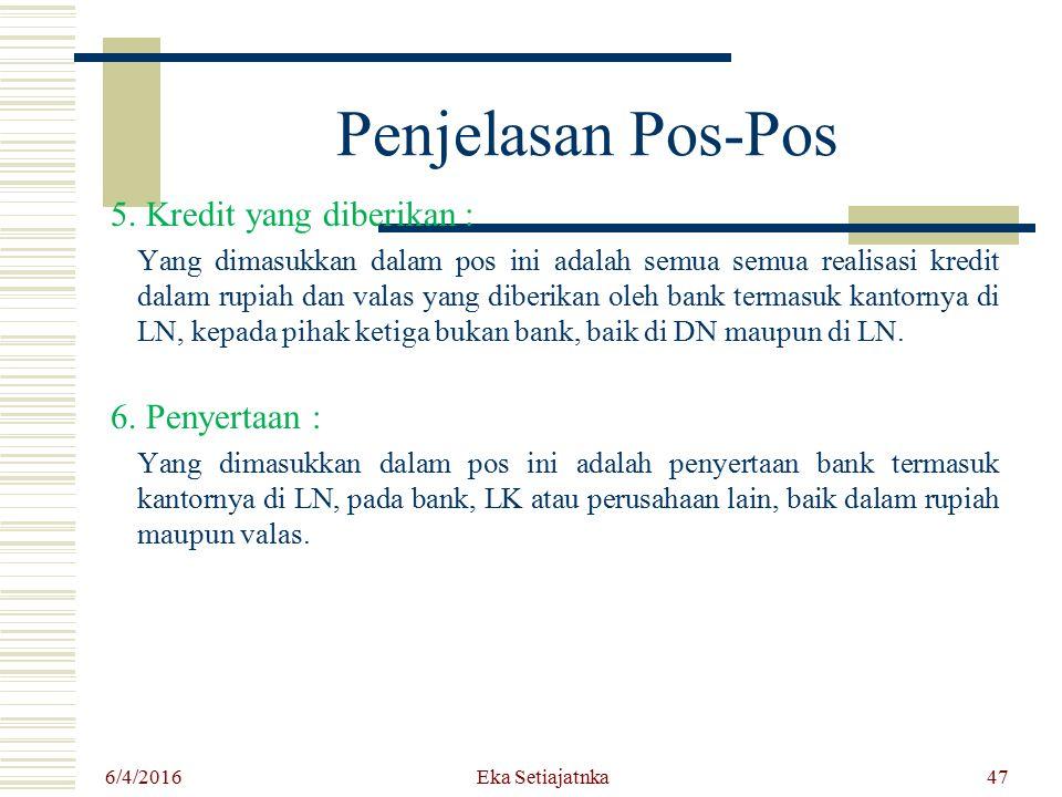 Penjelasan Pos-Pos 5. Kredit yang diberikan : 6. Penyertaan :