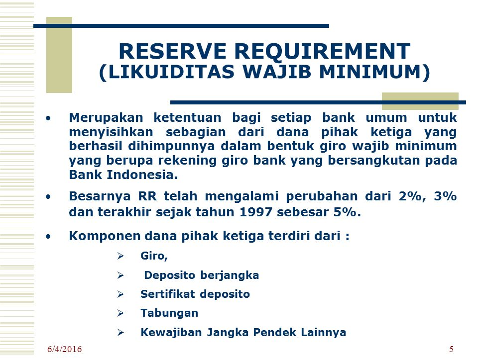 RESERVE REQUIREMENT (LIKUIDITAS WAJIB MINIMUM)